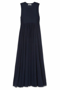 Jil Sander - Pleated Georgette Maxi Dress - Navy