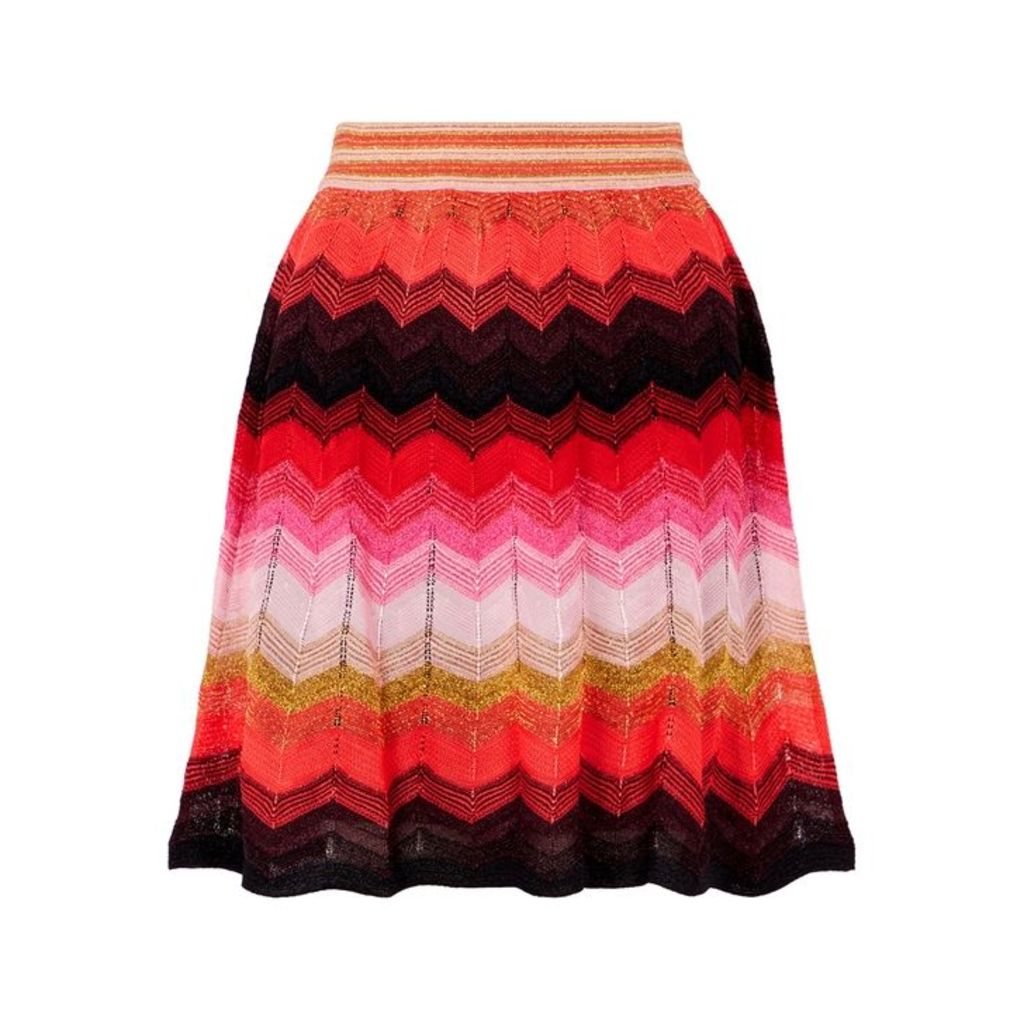 M Missoni Zigzag Metallic-knit Skirt