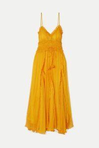 Lee Mathews - Lilla Ruffled Silk-crepon Maxi Dress - Saffron