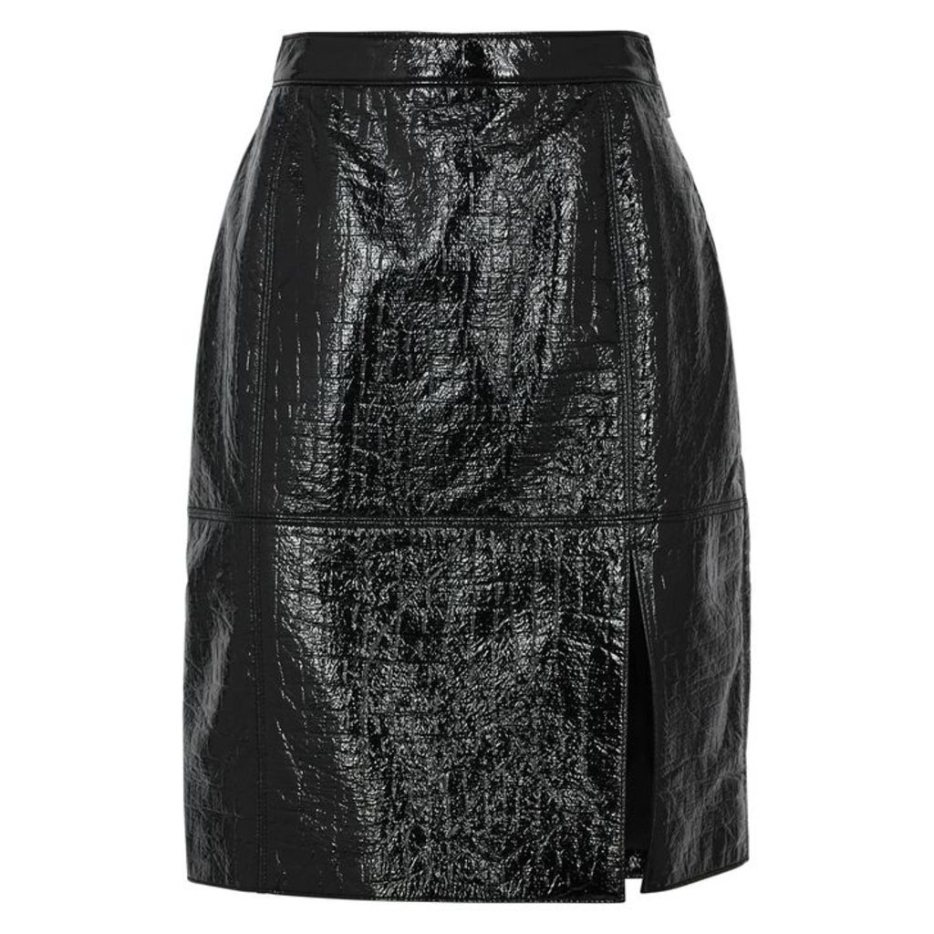 MSGM Black Patent Faux-leather Skirt