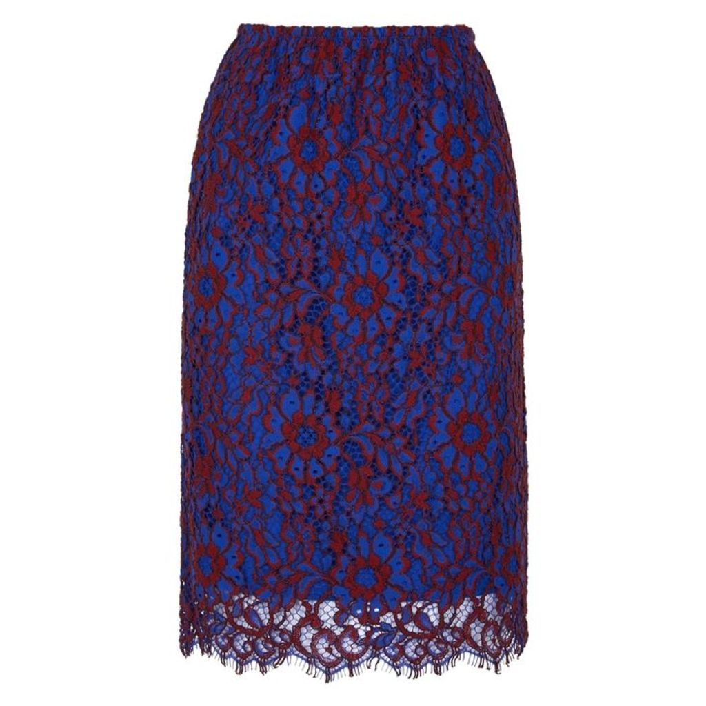 Calvin Klein Two-tone Lace Pencil Skirt