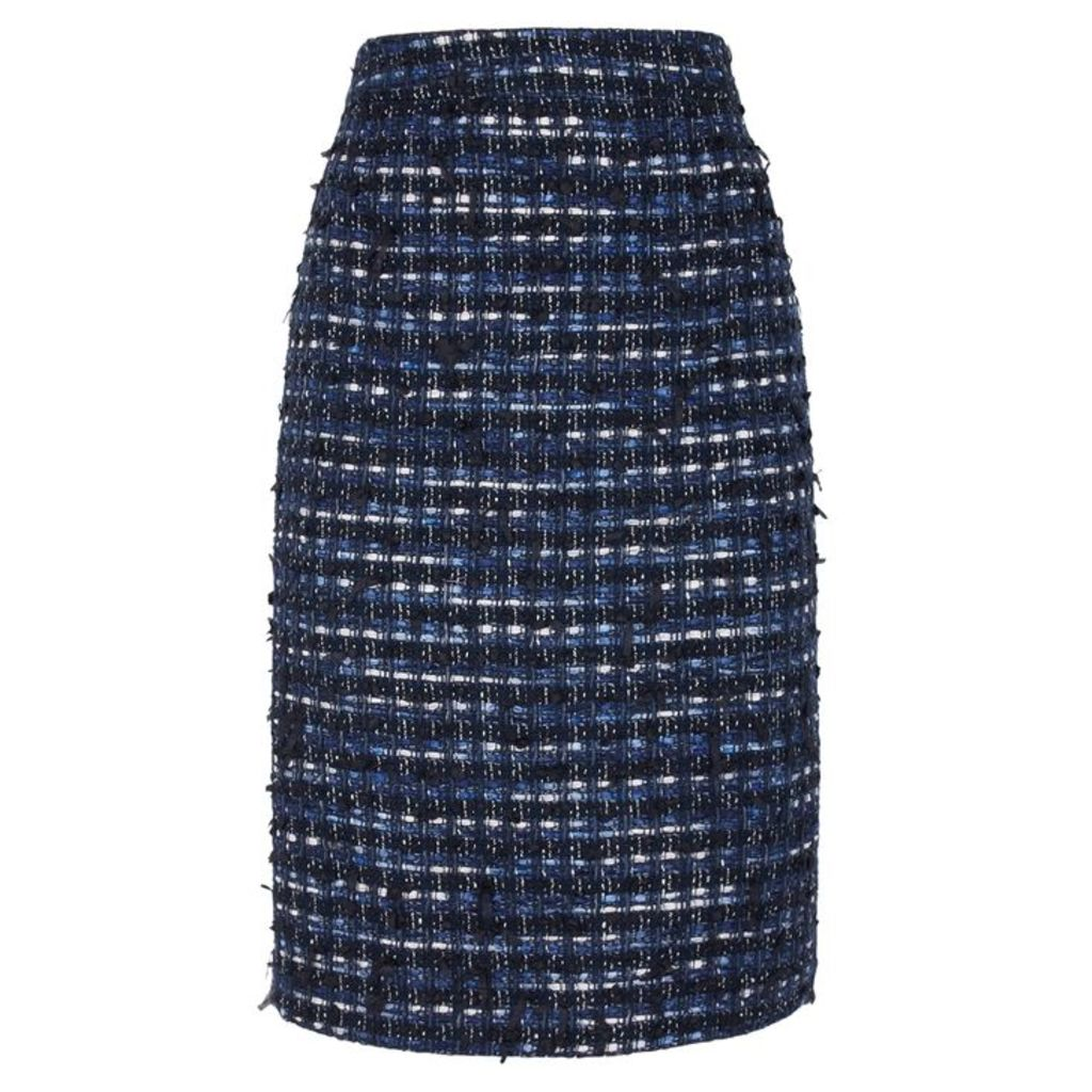 Boutique Moschino Dark Blue Tweed Pencil Skirt