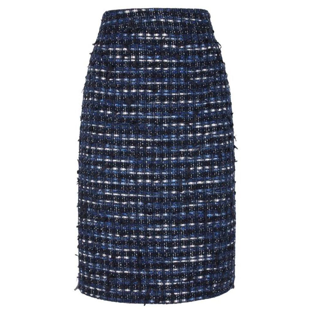 Boutique Moschino Dark Blue Tweed Pencil Skirt