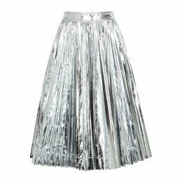 Calvin Klein 205W39NYC Silver Pleated Taffeta Midi Skirt