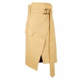 Petar Petrov Rita Cream Leather Wrap Skirt