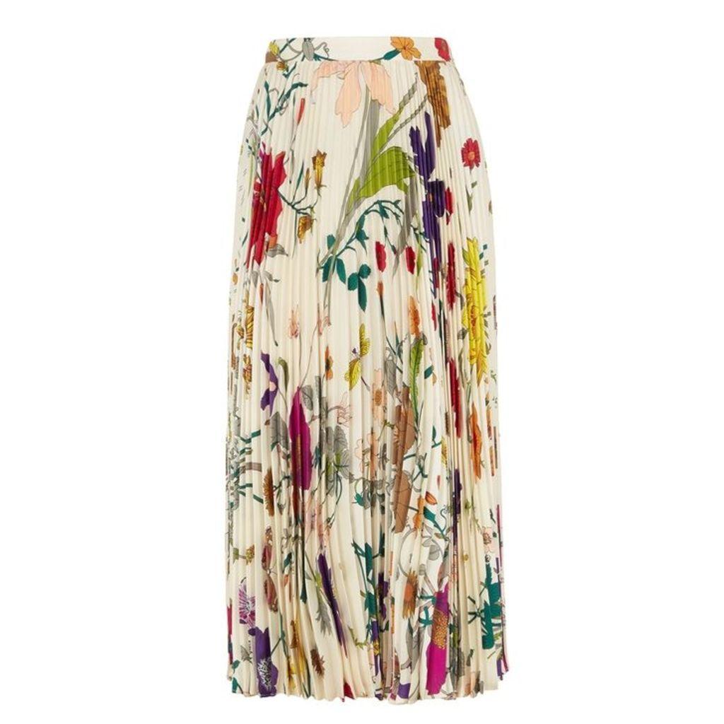 Gucci Flora-print Pleated Silk Skirt