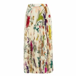 Gucci Flora-print Pleated Silk Skirt