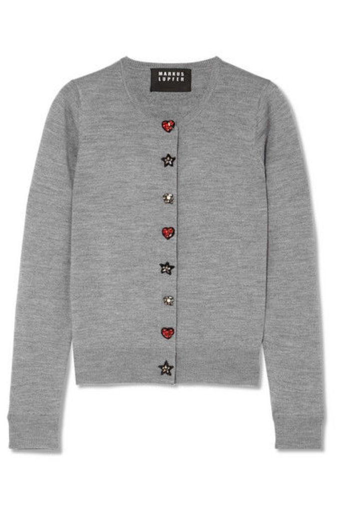 Markus Lupfer - April Embellished Merino Wool Cardigan - Gray