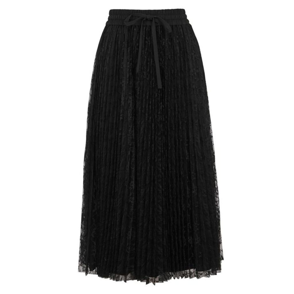 RED Valentino Black Pleated Lace Midi Skirt