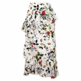Erdem Roselia Silk Crepe De Chine Midi Skirt