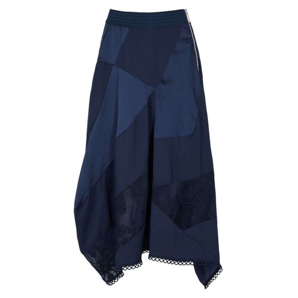 HIGH Concept Navy Panelled Satin Skirt
