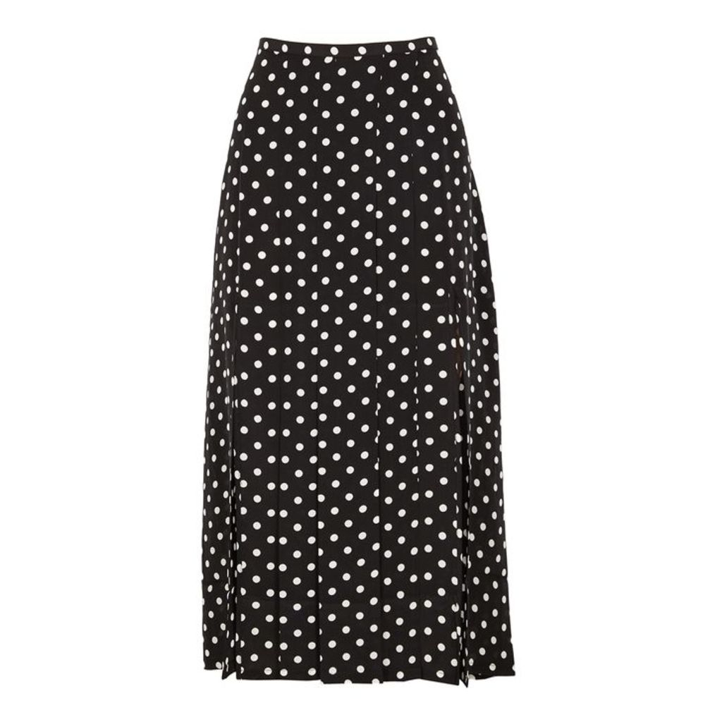 RIXO Georgia Polka-dot Silk Midi Skirt