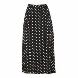 RIXO Georgia Polka-dot Silk Midi Skirt