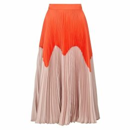 Roksanda Ollyn Pleated Satin Midi Skirt