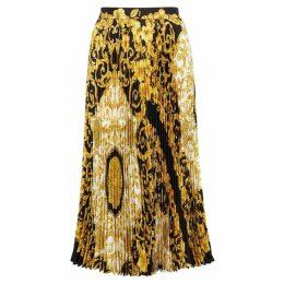 VERSACE Baroque-print Silk Midi Skirt