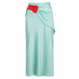 Anna October Mint Hammered Satin Midi Skirt