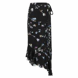 Preen Line Black Floral-print Wrap Skirt