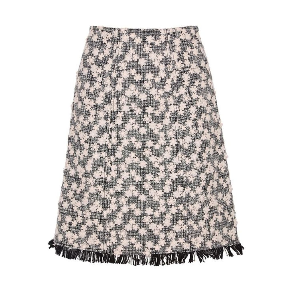 Giambattista Valli Floral-appliquéd Tweed Skirt