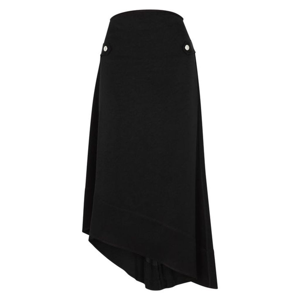 Ellery Backbone Black Asymmetric Satin Skirt