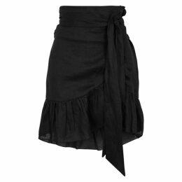 Isabel Marant Étoile Tempster Black Linen Wrap Skirt