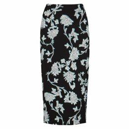 Diane Von Furstenberg Kara Black Floral-print Midi Skirt