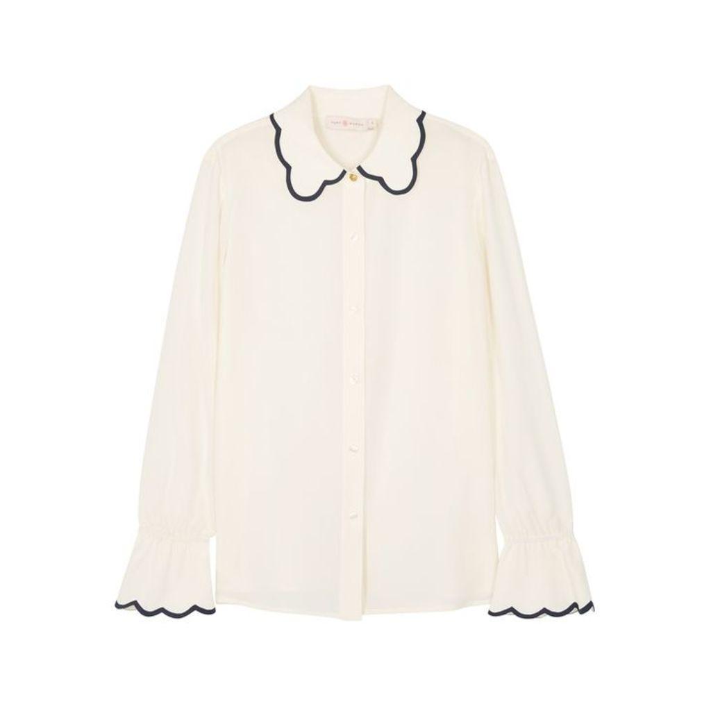 Tory Burch Cream Scalloped Silk Chiffon Shirt