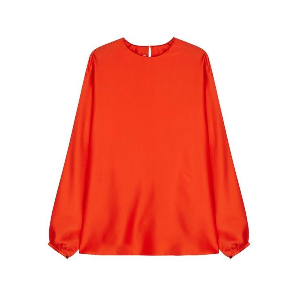 Roksanda Flora Orange Silk Top