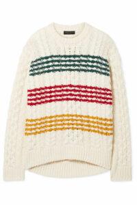 rag & bone - Mindy Striped Cable-knit Wool Sweater - White