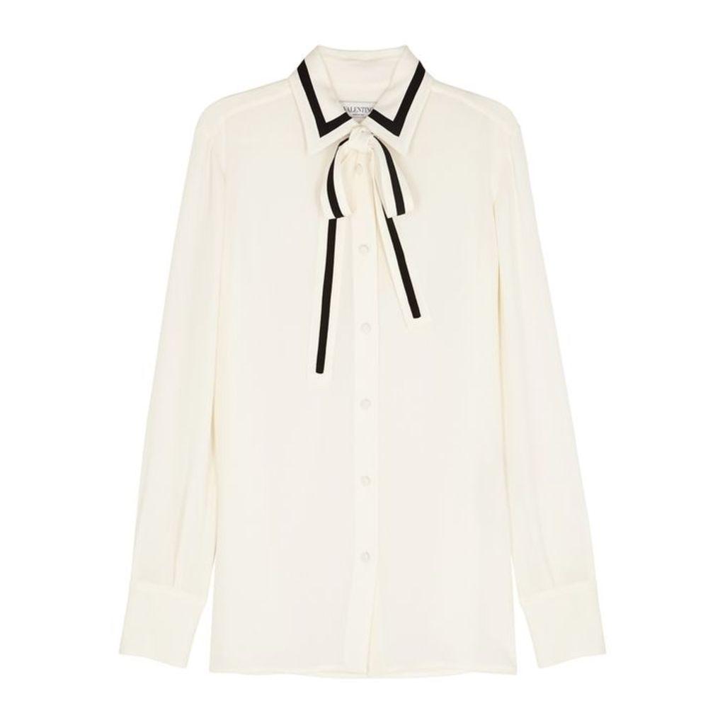 Valentino Ivory Semi-sheer Silk Chiffon Shirt
