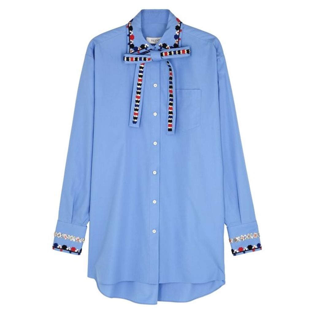 Valentino Blue Embellished Cotton Shirt