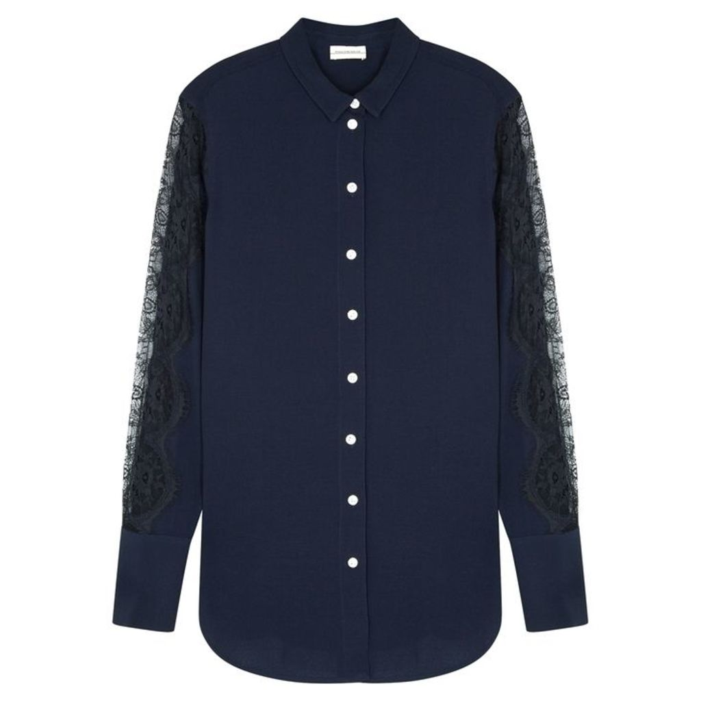 BY MALENE BIRGER Likkan Navy Lace-trimmed Shirt