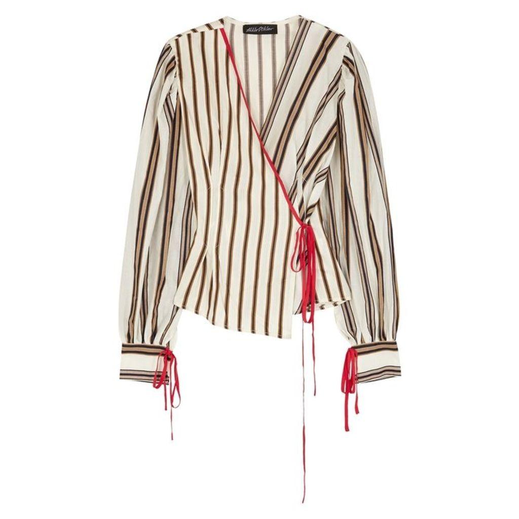 Anna October Striped Cotton Wrap Top
