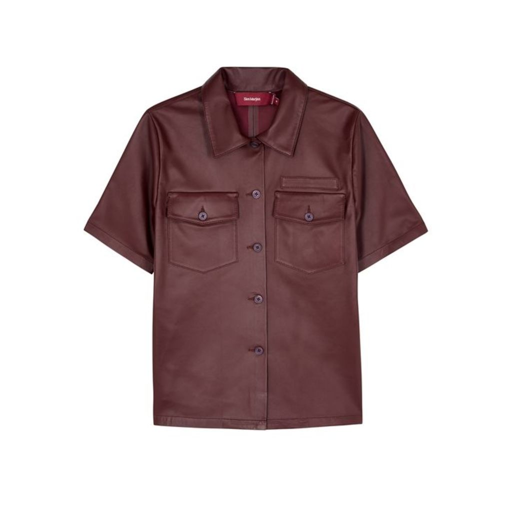 Sies Marjan Nico Burgundy Leather Shirt