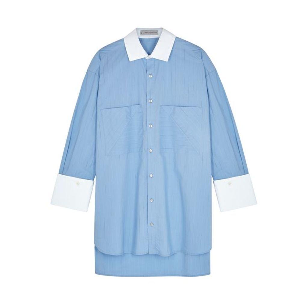 Palmer//harding Blue Pinstriped Cotton Shirt
