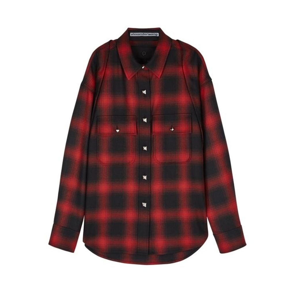Alexander Wang Red Checked Wool Flannel Shirt