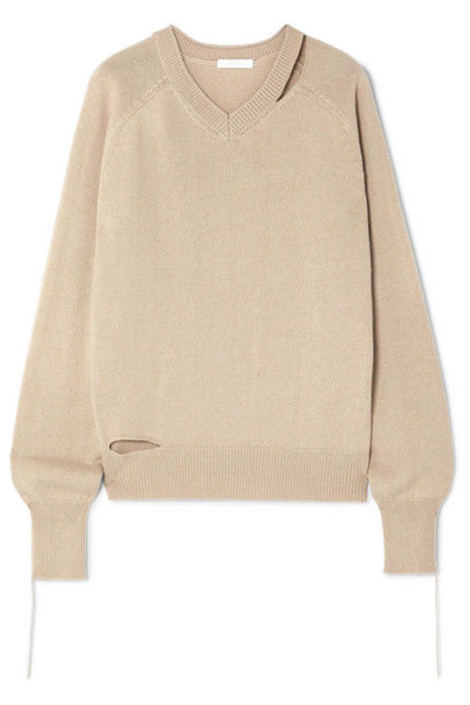 Helmut Lang - Distressed Cutout Cotton, Wool And Cashmere-blend Sweater - Beige