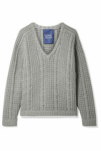 SIMON MILLER - Pando Cable-knit Cotton Sweater - Gray green