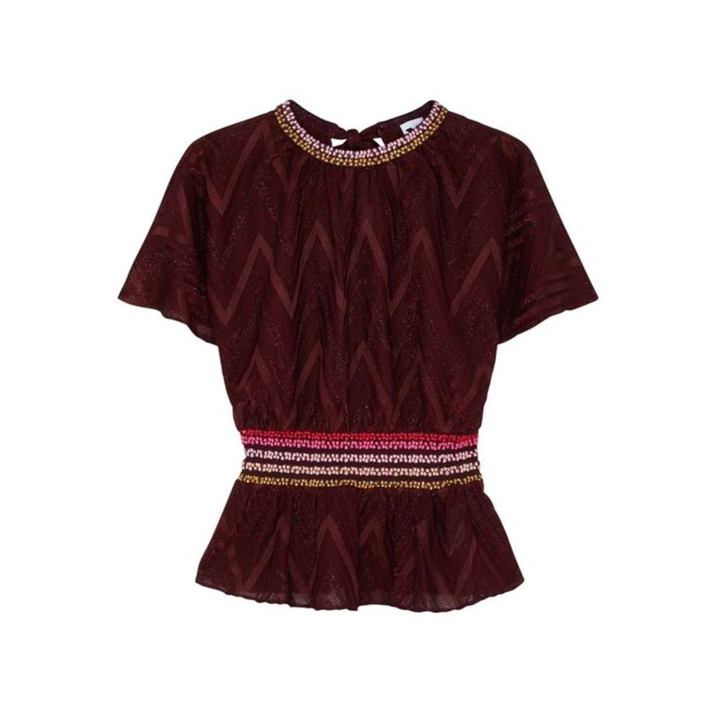 M Missoni Bordeaux Zigzag Metallic-knit Top