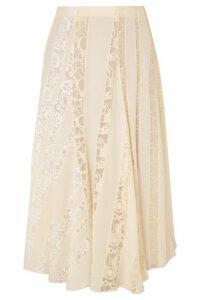 Chloé - Lace-paneled Silk Crepe De Chine Midi Skirt - Ivory