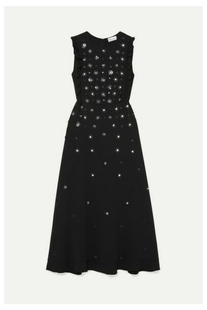 REDValentino - Embellished Ruffled Crepe Midi Dress - Black