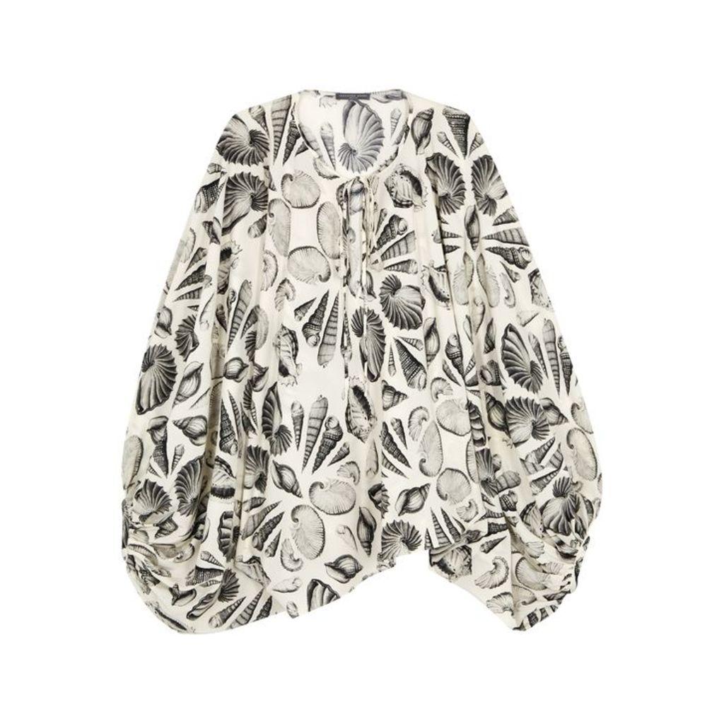 Alexander McQueen Cabinet Of Shells Printed Silk Top