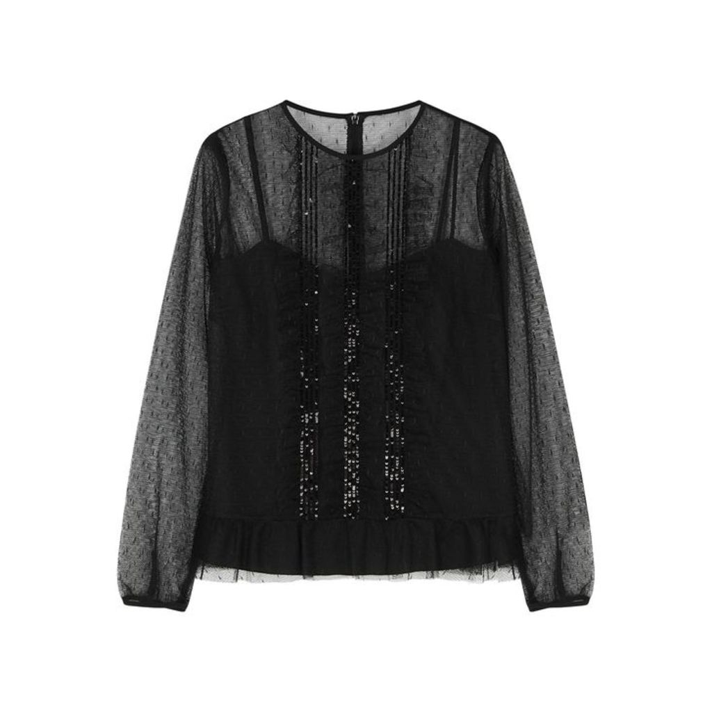 RED Valentino Black Embellished Point D'esprit Top