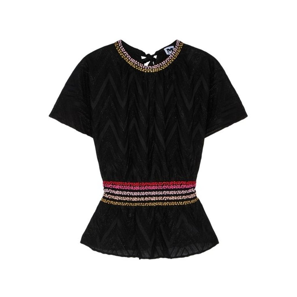 M Missoni Black Zigzag Metallic-knit Top
