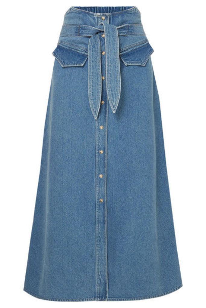 Nanushka - Alma Belted Denim Midi Skirt - Mid denim