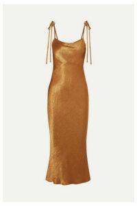 Georgia Alice - Crinkled-satin Midi Dress - Copper