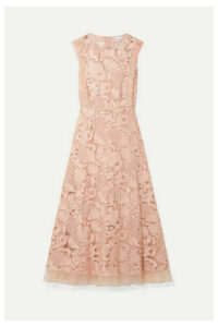 REDValentino - Organza-trimmed Guipure Lace Midi Dress - Blush