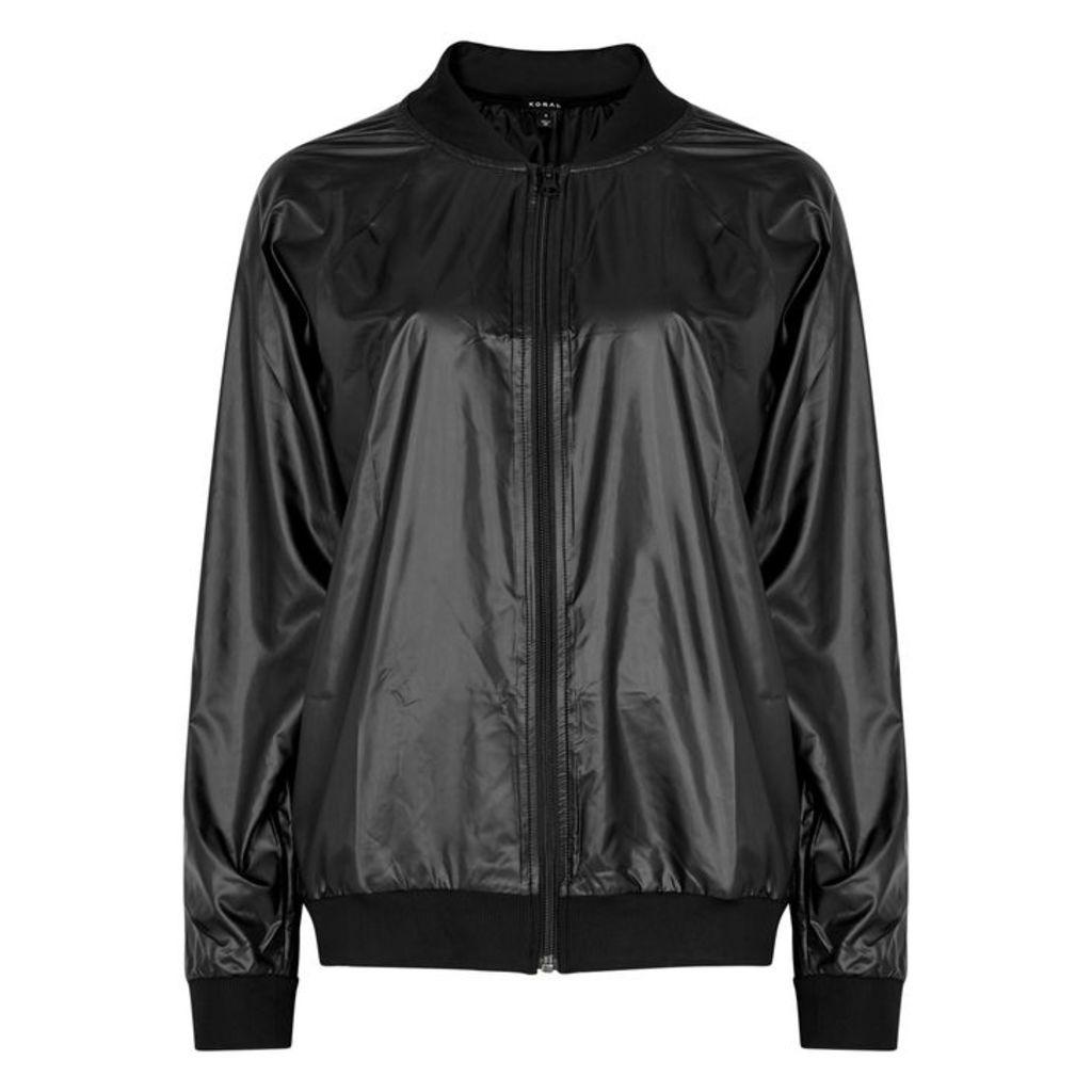 Koral Activewear Dash Black Shell Bomber Jacket