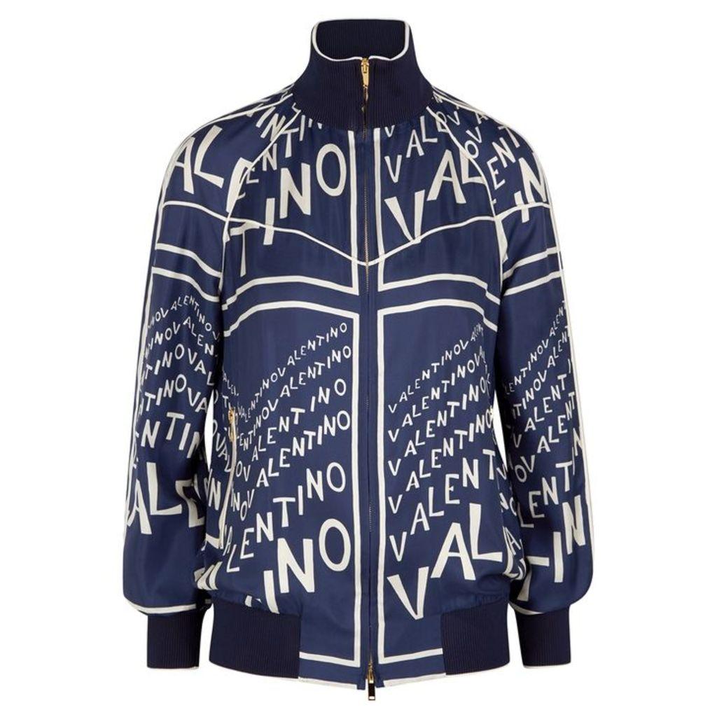 Valentino Navy Printed Silk Twill Bomber Jacket