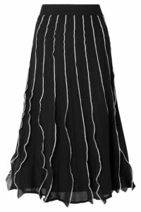 REDValentino - Ruffled Pointelle-knit Cotton-blend Midi Skirt - Black