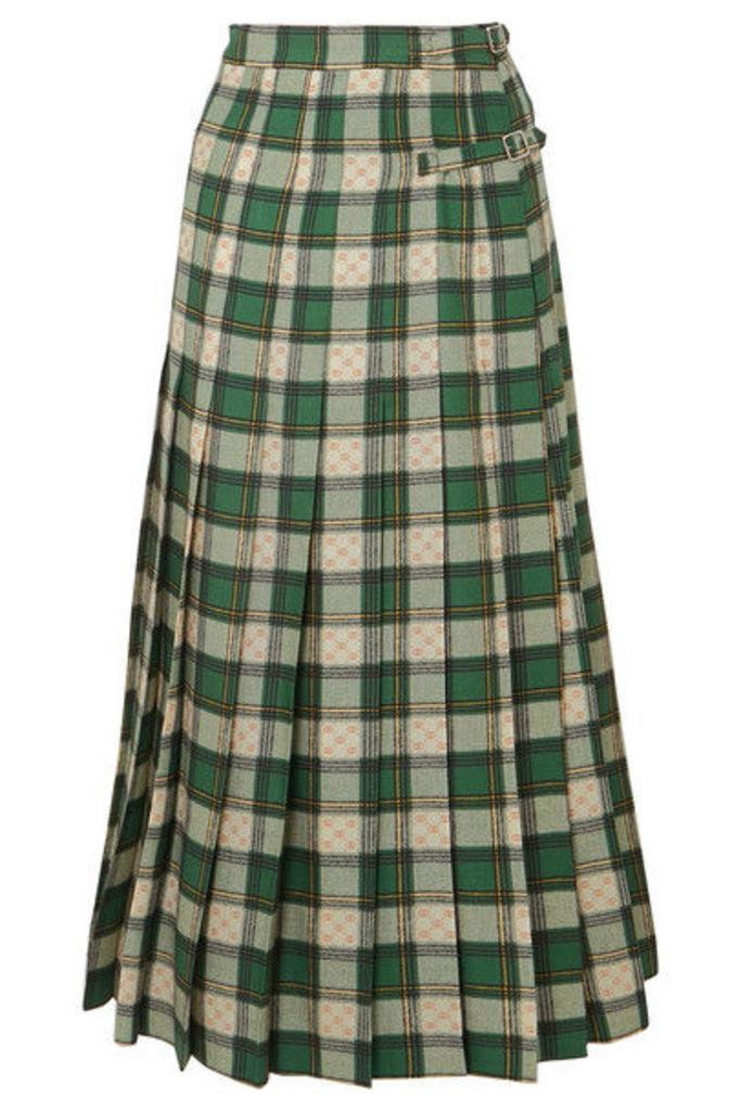Gucci - Tartan Pleated Wool-twill Wrap Skirt - Green